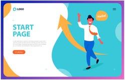 Интернет-страница для успешного дела молодой человек клонит быть руководителем бесплатная иллюстрация