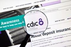 Интернет-страница канадского банка CDIC Стоковые Фото