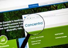 Интернет-страница канадского банка Concentra Стоковое Изображение RF