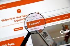Интернет-страница канадского банка Tangerine Стоковые Изображения