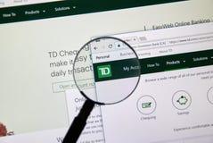 Интернет-страница канадского банка TD Стоковое Изображение