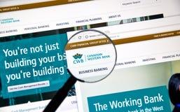 Интернет-страница канадского CWB банка Стоковые Фото