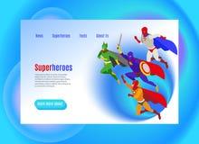 Интернет-страница супергероев равновеликая иллюстрация штока
