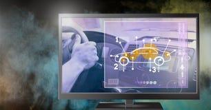 интерфейс автомобиля на телевидении Стоковое Изображение RF