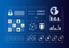 Интерфейс безопасностью виртуальный Мультимедиа стоковые изображения