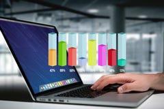 Интерфейс диаграммы ручки обзора Colorfull с процентом над de Стоковые Фотографии RF