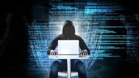 Интерфейс кода и технологии с хакером на ноутбуке видеоматериал