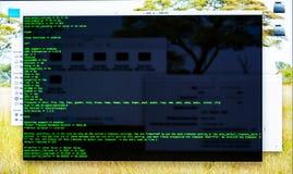 Интерфейс на рабочем столе, терминальная команда линии передачи команд, cli стоковая фотография rf