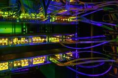 Интерфейс оптически соединителя волокна Компьютерная сеть информационной технологии стоковое фото rf