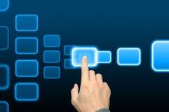 интерфейс руки кнопки нажимая касание экрана Стоковые Фото