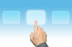 интерфейс руки кнопки нажимая касание экрана Стоковые Изображения