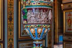 Интерьеры и детали замка Фонтенбло, Франции стоковое изображение