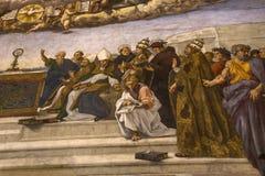Интерьеры комнат Raphael, музея Ватикана, Ватикана Стоковые Изображения