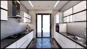 Интерьеры кухни дома и полный дом 3d представляют иллюстрация вектора