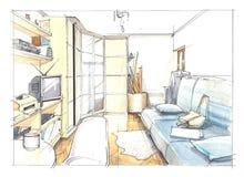 Интерьер акварели спальни Стоковая Фотография RF