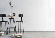 Интерьер бара просторной квартиры, состоящ из столовой и лампы Стена Стоковые Изображения RF