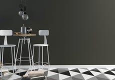 Интерьер бара просторной квартиры, состоящ из столовой и лампы Стена Стоковое Изображение