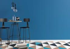 Интерьер бара просторной квартиры, состоящ из столовой и лампы Стена Стоковое Фото