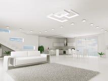 Интерьер белой квартиры иллюстрация штока