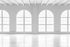 Интерьер белой комнаты, модель-макет открытого пространства Стоковые Фотографии RF