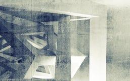 Интерьер белой комнаты с абстрактной конструкцией кубов Стоковые Фото
