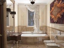 Интерьер ванная комната в классицистическом стиле Стоковое Изображение RF