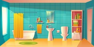 Интерьер ванной комнаты вектора, комната с мебелью бесплатная иллюстрация