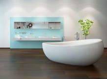Интерьер ванной комнаты с славной freestanding ванной бесплатная иллюстрация