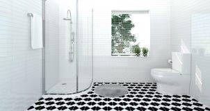 Интерьер ванной комнаты, туалет, ливень, современная домашняя иллюстрация дизайна 3D для ванной комнаты плитки предпосылки космос иллюстрация вектора