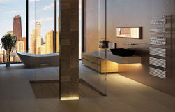 интерьер ванной комнаты 3D иллюстрация вектора