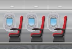 Интерьер вектора самолета пассажира красный Кабина воздушных судн крытая с иллюминаторами и местами стульев также вектор иллюстра иллюстрация вектора