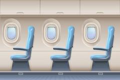 Интерьер вектора самолета пассажира Воздушные судн крытые с удобными стульями и иллюминаторами иллюстрация вектора