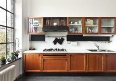 Интерьер, взгляд кухни Стоковые Изображения RF