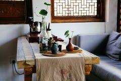 Интерьер винтажного ресторана китайца стиля Стоковая Фотография RF