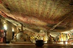 Интерьер виска Dambulla золотого в Шри-Ланке стоковые изображения rf