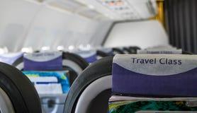 Интерьер внутри самолета без пассажиров Стоковая Фотография