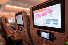 Интерьер воздушных судн аэробуса A380 эмиратов Стоковое Фото