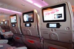 Интерьер воздушных судн аэробуса A380 эмиратов Стоковое Изображение RF