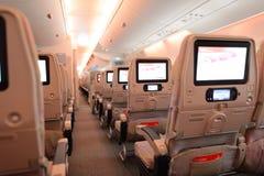 Интерьер воздушных судн аэробуса A380 эмиратов Стоковые Изображения