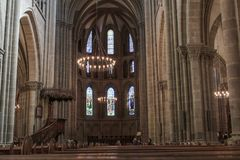 Интерьер в протестантской церкви geneva Стоковая Фотография