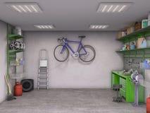 Интерьер гаража иллюстрация штока