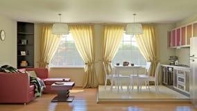 Интерьер гостиной кухни Стоковое Изображение RF