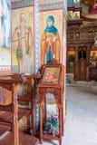 Интерьер греческого правоверного монастыря 12 апостолов в каперсах Стоковые Фото