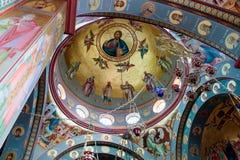 Интерьер греческого правоверного монастыря 12 апостолов в каперсах Стоковая Фотография