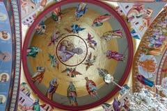 Интерьер греческого правоверного монастыря 12 апостолов в каперсах Стоковое Изображение RF