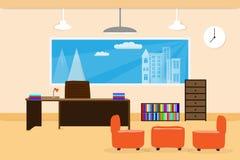 Интерьер дизайна офиса на bookcase и окне стула таблицы иллюстрация Стоковая Фотография