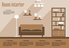 Интерьер живущей комнаты Брайна Стоковое Изображение