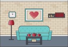 Интерьер живущей комнаты в линии дизайне искусства плоском Вектор Illustratio Стоковое фото RF