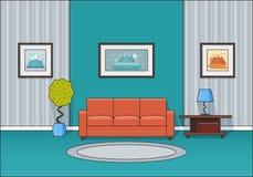Интерьер живущей комнаты в линии дизайне искусства плоском Вектор Illustratio Стоковые Фотографии RF