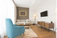 Интерьер живущей комнаты в современной квартире Стоковое Изображение